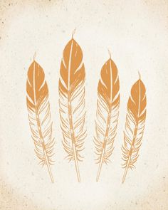 4 Native Feathers Art Print 8x10 inch CHOOSE your COLOR, SALE buy 2 get 3 on Etsy, $19.00