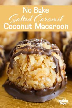 These No-Bake Salted Caramel Coconut Macaroons are so very easy that they may just become your go-to cookie recipe when you need something fast. Sweet coconut gets stirred into gooey caramel to form… Candy Recipes, Brownie Recipes, Cookie Recipes, Bar Recipes, Fast Dessert Recipes, Caramel Recipes, Salted Caramel Truffle Recipe, Easy No Bake Recipes, Desserts Caramel