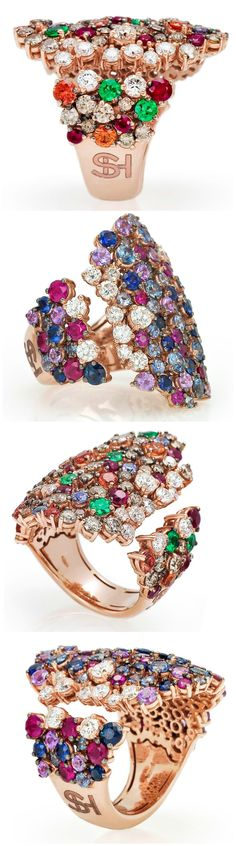 Two incredible gemstone and diamond cocktail rings in rose gold. These beauties are both from the new Stefan Hafner Pegaso collection.