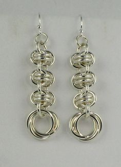 Barrell Weave Mobius Sterling Silver Chainmaille Earrings