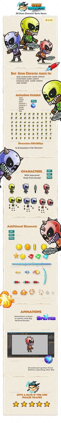 Game Enemies Character Sprites 142 - Sprites Game Assets