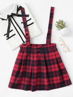 Shop Checked Pleated Pinafore Skirt at ROMWE, discover more fashion styles online. Cute Fashion, Look Fashion, Girl Fashion, Fashion Dresses, Womens Fashion, Fashion Design, Fashion Styles, Pinafore Skirts, Pinafore Dress