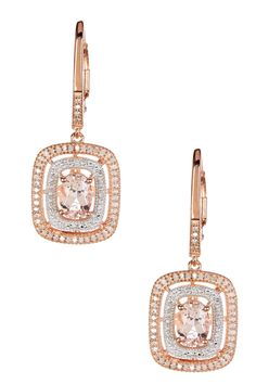 Two-Tone Morganite & Diamond Dangle Earrings by Savvy Cie on @HauteLook