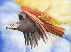 """Thunder Bird, 8""""x10"""", Watercolor, 2002"""