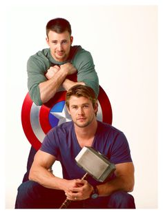 Chris Evans and Chris Hemsworth SO excited for this movie!