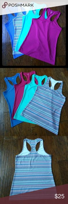 C9 Racer-back workout tank bundle This listing is for a pre-bundled set of four C9 Champion workout tank tops. These versatile racer-back tanks are great for the gym. Colors are: Dusty blue, warm fuschia, light turquoise, and and pick-purple-light gray-blue stripes. Also, see my other workout bundles! C9 by Champion Tops Tank Tops