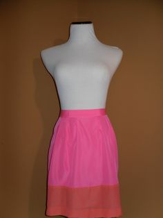 NWT J Crew Pink Factory Pleated Colorblock Skirt, Size 2 SOLD OUT ONLINE
