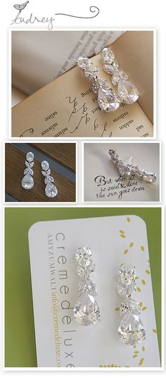 oval and pear cz bridal earrings