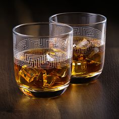 Etched Whiskey Glasses ALISANDER | Made in Europe | Set of 2 x 9.5 oz Old Fashioned Glasses | Gift Box. Whiskey Gift Set, Cocktail Glassware, Whiskey Glasses, Greek Key, Ancient Greek, Abundance, Shot Glass, Europe, Box