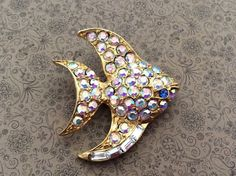 Vintage Rhinestone gold tone large fish brooch  with by EMTWTT