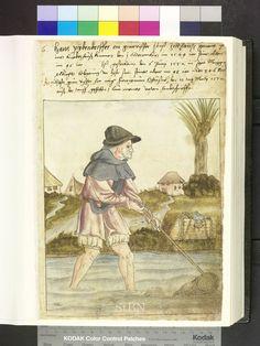 Fisherman with net and fish carrier  Die Hausbücher der Nürnberger Zwölfbrüderstiftungen