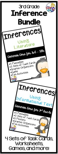 Loaded! 120 page Inferences Bundle filled with 4 sets of reading task cards, passages, graphic organizers, posters, games and activities to help your 3rd graders practice making inferences. (TpT Resource)