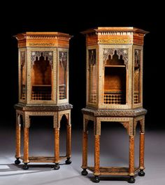 A PAIR OF SYRIAN WOOD, MOTHER OF PEARL AND BONE INLAID DISPLAY-CASES, Late 19th-Early 20th Century - H. : 205 cm (80 3/4 in.) W. : 92,5 cm (36 1/2 in.) D. : 41 cm (16 in.) Ottoman Furniture, Antique Furniture, Furniture Design, Style Marocain, Art Nouveau, Art Deco, Islamic Art Pattern, Islamic World, Boutique Design