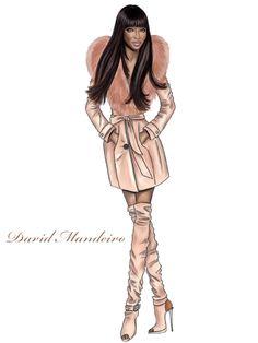 ☆ Naomi Campbell for Love Republic Coat with fur collar ☆ by David Mandeiro.