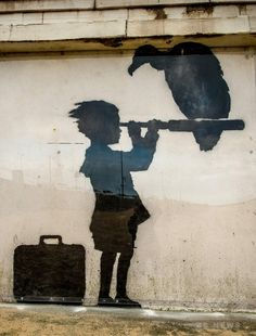 Banksy's mural, expressing the plight of immigrants – Graffiti World Banksy Mural, Graffiti Murals, Street Art Banksy, Bansky, Sidewalk Art, Street Signs, Illustrations And Posters, Love Art, Stencils