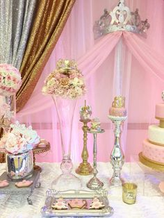 Pink and gold Winter Onederland birthday party! See more party planning ideas at CatchMyParty.com!