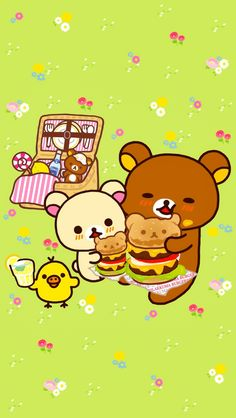 Rilakkuma Wallpaper, Sanrio Wallpaper, Kawaii Wallpaper, Cute Wallpaper Backgrounds, Cartoon Wallpaper, Cute Wallpapers, Japanese Characters, Cute Characters, Sanrio Characters