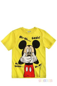 T-shirt #Mickey jaune https://www.toluki.com/prod.php?id=1128 #enfant #Toluki #Disney