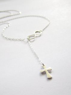 Cross and Infinity Lariat, new design, sterling silver lariat. I really love this.