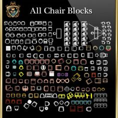 Chair Blocks Collection (All in one! Roof Detail, Ceiling Detail, Architecture Drawings, Architecture Details, Autocad, Cad Library, Restaurant Plan, Paving Design, Free House Plans