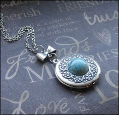 Turquoise Locket Necklace -Enchanted Robin Egg - Jewelry By TheEnchantedLocket - LOVELY Wife New Mommy Birthday Gift