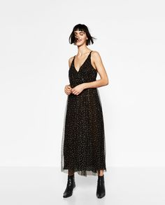 LONG TULLE DRESS WITH POLKA DOTS-DRESSES-WOMAN | ZARA United States