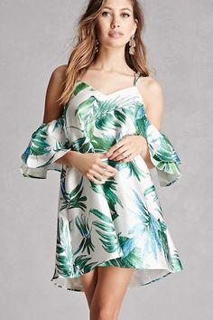 A satin woven dress featuring an allover tropical print, an open-shoulder design, adjustable crisscross back straps, an elasticized back, ruffled short sleeves, and a shift silhouette.  This is an independent brand and not a Forever 21 branded item.