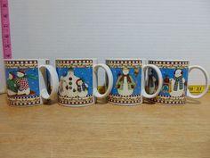 Set of 2 Debbie Mumm mugs in very good condition. Stoneware Mugs, Dish Sets, Seasonal Decor, Snowman, Holiday, Christmas, Seasons, Tableware, Winter