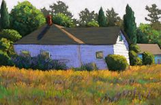 House in the Field Pastel Painting Created by Victoria Ryan