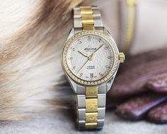 Alpina Watches Comtesse two tone with diamonds. Swiss Made. The essence of Swissness, the elegance of sports. Tina Maze, Alpina Watches, Elegant Woman, Lady, Michael Kors Watch, Omega Watch, Luxury, Diamonds, Accessories