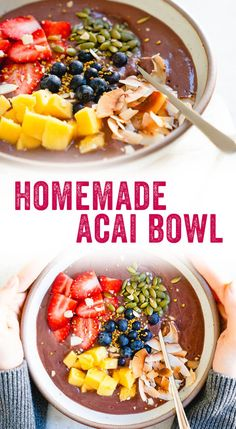 BEST Homemade Acai Bowl (Easier Than You Think!) – A Couple Cooks Love acai bowls but don't want to leave your house? This homemade acai bowl recipe is incredibly delicious and easy to make. Fruit Smoothies, Healthy Smoothies, Healthy Drinks, Smoothie Recipes, Healthy Snacks, Healthy Recipes, Acai Bowl Recipe Nutribullet, Acai Smoothie Bowl Recipe, Recipes