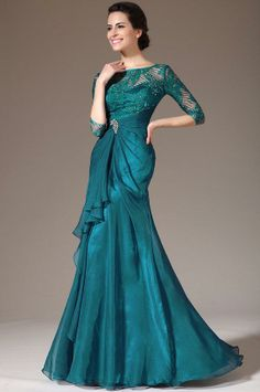 Green Lace Top Half Sleeves Mother of the Bride Dress Sheath Chiffon Over Mother Gowns Formal