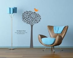 Wall Decals - YYone The Happiest Places A Tall Round Tree with A Orange Bird Wall Sticker for Sitting Room or Kids Room Wall Decals