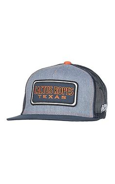 799429aa4b74b HOOey Light Blue with Navy and Orange Cactus Ropes Patch Mesh Back Snap  Back Cap