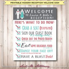 Printable Modern Rustic Wedding Reception by SendMeStationery