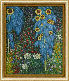 "Add a little sparkle and shimmer to your home this spring and summer with metallic decorative accents like a gold frame around a painting like ""Farm Garden with Sunflowers"" by Gustav Klimt. #decor #art"