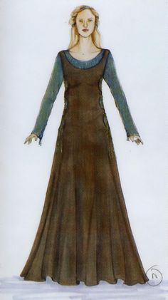 Eowyn - costume concept art - refugee dress - Lord of the Rings - The Two Towers - front