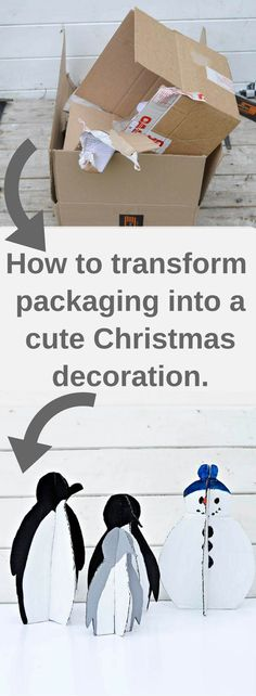 How to transform your cardboard packaging into a DIY Christmas decoration Penguin family.