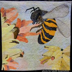 """Sweet Nectar, 31 x 31"""", by Barbara Kilbourn (Michigan).  2014 AQS show, photo by Quilt Inspiration."""