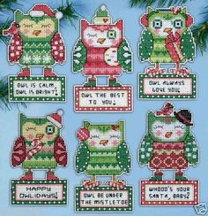"'Design Works' counted cross stitch - ""Happy Owlidays"" Ornaments. Totally adorable. Reckon Christopher Robin or even Owl himself (from Winnie the Pooh) would have these hanging off his Christmas tree!"