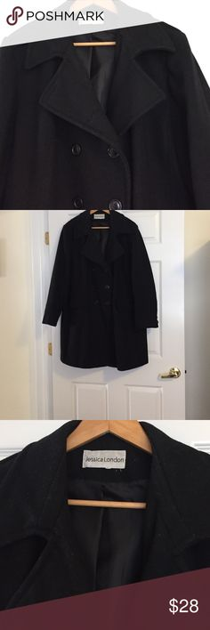 Woman's black double breasted pea coat Woman's double breasted pea coat 2 pockets 60% wool worn a few times but in very good condition. No tears. No stains. No buttons missing jessica london Jackets & Coats Pea Coats