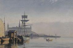 Carl Neumann (1833-1891): Winterberg Kunst - Hafen mit Fischerbooten und Segelschiff im Morgenlicht Cityscapes, Painters, Danish, Denmark, Norway, Scandinavian, Sailing, Coasters, Artist