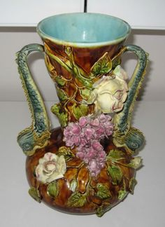 Antique French Barbotine Majolica Vase w Applied Flowers Sea Serpent Handles | eBay
