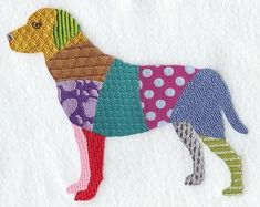 PATCHWORK DOG  - Machine Embroidery Quilt block (AZEB)
