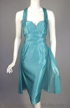 Aqua silk satin & chiffon cocktail dress