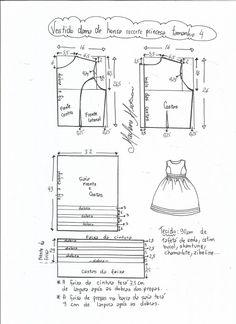 Esquema de modelagem de vestido de festa com recorte princesa tamanho 4. Toddler Sewing Patterns, Kids Patterns, Sewing For Kids, Baby Sewing, Frock Patterns, Baby Dress Patterns, Doll Clothes Patterns, Clothing Patterns, Pattern Drafting Tutorials