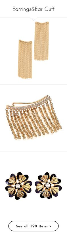 """Earrings&Ear Cuff"" by taught-to-fly19 on Polyvore featuring jewelry, earrings, gold, long earrings, rosantica earrings, chain fringe earrings, square earrings, fringe jewelry, gold jewellery e gold earrings"