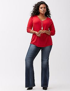 Your wardrobe essential for easy outfitting in chilly weather, our long sleeve, V-neck tee is ready for action. Available in all the season's best-loved colors, so don't stop at just one! lanebryant.com