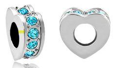 #charmbracelets #charms #jewelry #jewellery #pandora #pandorabracelet Pugster #Aquamarine Blue Crystal #Heart #Love Spacer Fits All Brands Silver Plated Beads Charms Bracelets