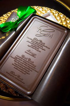 This might be the most enticing wedding menu we've ever seen… because it's made of chocolate! By Donnie Brown